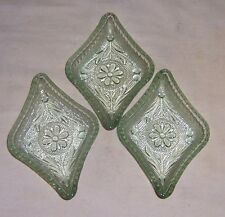 ~~ VINTAGE VASOLINE GLASS ~~  SET OF 3 DIAMOND NUT CUPS
