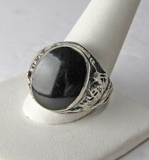 Vintage 925 Sterling Silver Mens Onyx Dragon Ring Size 13