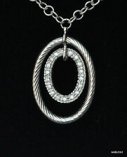 Charriol Diamond Pendant Necklace Flamme Blanche 18K White Gold New