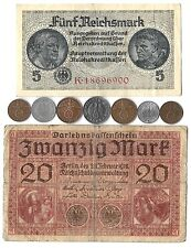 Rare Old WWI WWII WW2 Nazi Germany War Machine Coin Note German Collection 9 Lot