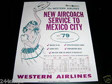 VINTAGE WESTERN AIRLINES - AD MEXICO CITY - MOUNTED ON HARD BOARD