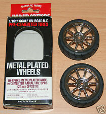 Tamiya 53956 10 Spoke Metal Plated Wheel w/Cemented Radial Tyre 2 Pcs. (24mm Off