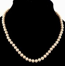Freshwater Pearl Necklace '8mm' With Fancy Sterling Silver Dangling Pearl Clasp