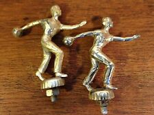 "Lot of (2)  Vintage 1960's Men's Bowling Tournament Metal Trophy Tops (3"") hd2"