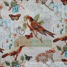BonEful Fabric FQ Cotton Quilt BIRD Butterfly Tree Branch Spring Scenic Flower L