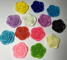 4 x Extra Large Resin Flowers - 42mm - Mixed Colours - Crafts