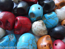 20 x Loose Howlite Skull Beads Mixed Color 18mm with 1mm Hole(TURQ-18X17)