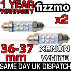 2x 36mm NUMBER PLATE INTERIOR LIGHT FESTOON BULB 6 LED XENON WHITE 239 12v C5W