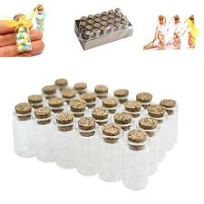 Mini Glass Jars Bottles Clear Vials Cork Stoppers Craft Container DIY Set of 24