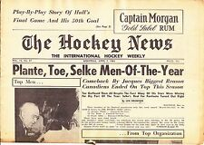 APRIL 7, 1962 HOCKEY NEWS - MONTREAL CANADIENS PLANTE  BLAKE  SELKE ON COVER