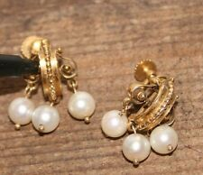 Antique Victorian 14k Yellow Gold White Pearl Dangle Hanging Earrings Rare
