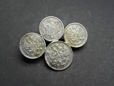Silber Brosche 4 Münzen 10 Kopeken 1857 10 u. 15 Kopeken 1900 Russland (5416)