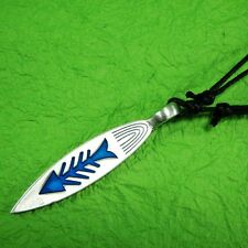 SURFBOARD Blue Fish Bone Maori charm Pewter PENDANT With Cotton Necklace #111