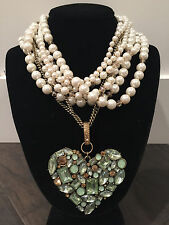 NWT rare Betsey Johnson Large Mint Green Heart multi strand Pearls Necklace