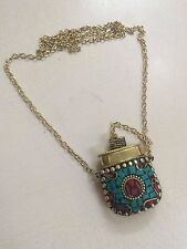 Tibetan Jewelry Tibetan Solid Brass Turquoise-Coral Antique Box Necklace WJ610