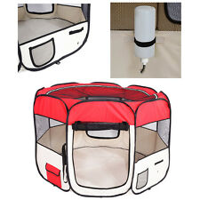 "57"" Dog Kennel Pet Fence Puppy Soft Playpen Exercise Pen Folding Crate Red"