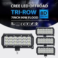 4X TRI-ROW CREE 7INCH 90W LED WORK LIGHT BAR FLOOD OFFROAD PICKUP VAN WAGON CAR