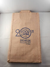 """2015 FOOD & WINE FESTIVAL PREMIUM PACKAGE CANVAS BAG """"NEW"""" 20TH ANNIVERSARY"""
