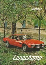 1980 DE TOMASO LONGCHAMP PROSPEKT BROCHURE CATALOGUE IT GB FR DE