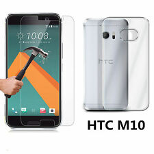 For HTC 10 / One M10 Ultra Thin Clear TPU Gel Silicone Case Cover+Tempered Glass