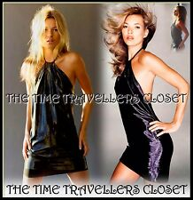KATE MOSS TOPSHOP BLACK SHINY WET LOOK HALTER BACKLESS STRETCH MINI DRESS UK 10