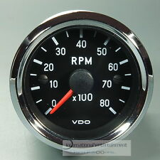 VDO DREHZAHLMESSER TACHOMETER *CHROME EDITION*  52mm INSTRUMENT  8000UPM 12V