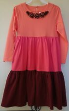 New W/Tags Hanna Andersson Colorblock Twirly Dress Girl's 140,  9-11yr.