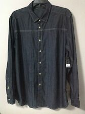 Sean John 100% Cotton Rinsed Indigo Stripe Long Sleeve Shirt Size 2XL
