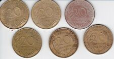 LOT 6 PIECES 20 centimes . FRANCE . BON ETAT . 1967 + 1984 + 1988 + 1996 + 1997