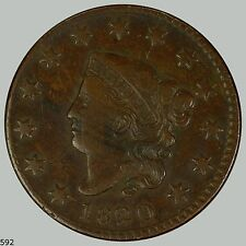1820 1C Newcomb 7 BN Coronet Head Cent, Choice VF+ dark molasses mahogany color