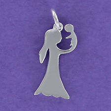 Girl Holding Baby Charm Sterling Silver 925 for Bracelet Necklace Mom NEW Mother