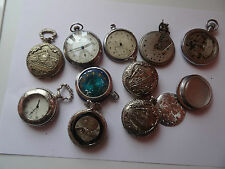 LOT OF 8 German RUHLA  SATURN UMF  POCKET WATCHES  .FOR PARTS AND JEWELRY