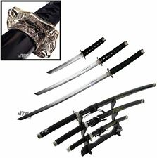 "3pc SET 40"" Katana Swords BLACK Dragon Carbon Steel w/Stand Collectible Samurai"