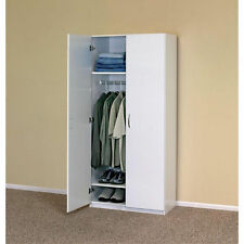 White Wardrobe Cabinet Clothing Closet Storage Modern Organizer Bedroom Shelf