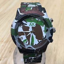 Vintage AK Homme Mens 45mm Military Theme Analog Quartz Watch Hours~New Battery