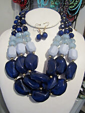 Three Layers Navy Blue Lucite Bead Gradual Chunky Necklace Earring Set