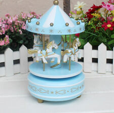 Wind Up Wooden Horse Fairground Roundabout Carousel Musical Box Blue