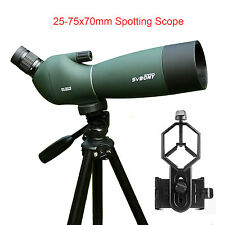 New 25-75x70mm Angled Zoom Spotting Scope Waterproof+Tripod+Phone Mount Adapter