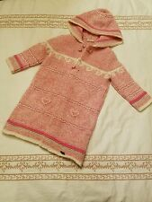 Giesswein Austria girls pink white knitted coat 98 3y/4y or 5y/6y
