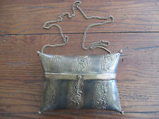 Vintage Copper Brass Metal Hinged Pillow Purse with Heavy Chain