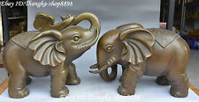 "12"" Chinese Pure Bronze Lucky Elephant Elephants Animal Hold Ruyi Statue Pair"