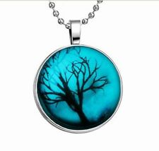 Glow in the Dark Reb Lucky Tree Cabochon Tibet Silver Glass Pendant Necklace &