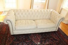 Vintage Genuine Leather Ivory Chesterfield Sofa SLEEPER  by Pendragon