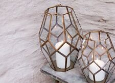 Brass & Glass Lantern. Geometric Terrarium Planter or Candle Holder Mohani Nkuku