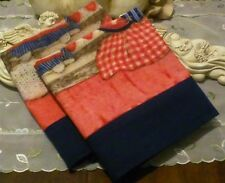 COUNTRY COTTAGE SET/2 RED WHITE BLUE FOLK ART AMERICANA JULY 4TH PILLOWCASES-NEW
