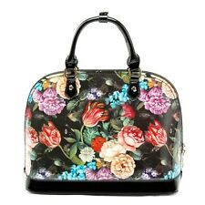 Women's Floral Designer Patent Leather Tote Shoulder Bag Ladies Handbags Retro