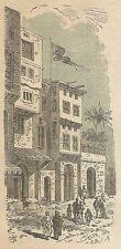A3029 Fayum - Una via - Animata - Stampa Antica del 1888 - Incisione