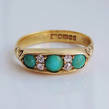 Antique Victorian 22ct Gold Turquoise & Diamond Ring c1897; UK Ring Size 'N 1/2'