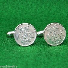 Norwegian Honey Bee Coin Cufflinks, Insect 10 Ore Norway Norge Scandinavian