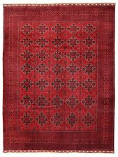 10 x 13 AFGHAN Turkmen Tribal Hand Knotted Wool RED BLUE NEW Oriental Rug Carpet